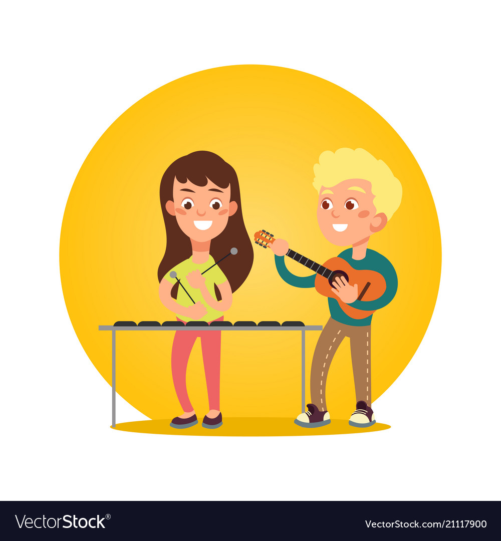 Happy children musicians with musical instruments