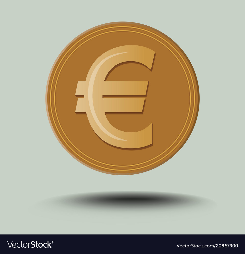 Isolated euro symbol golden coin with transparent
