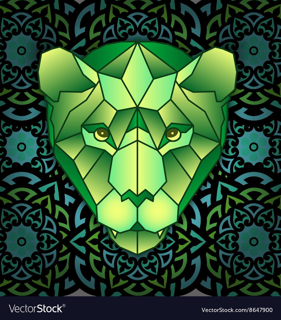 Mandala and polygonal head of polygonal tiger vector image
