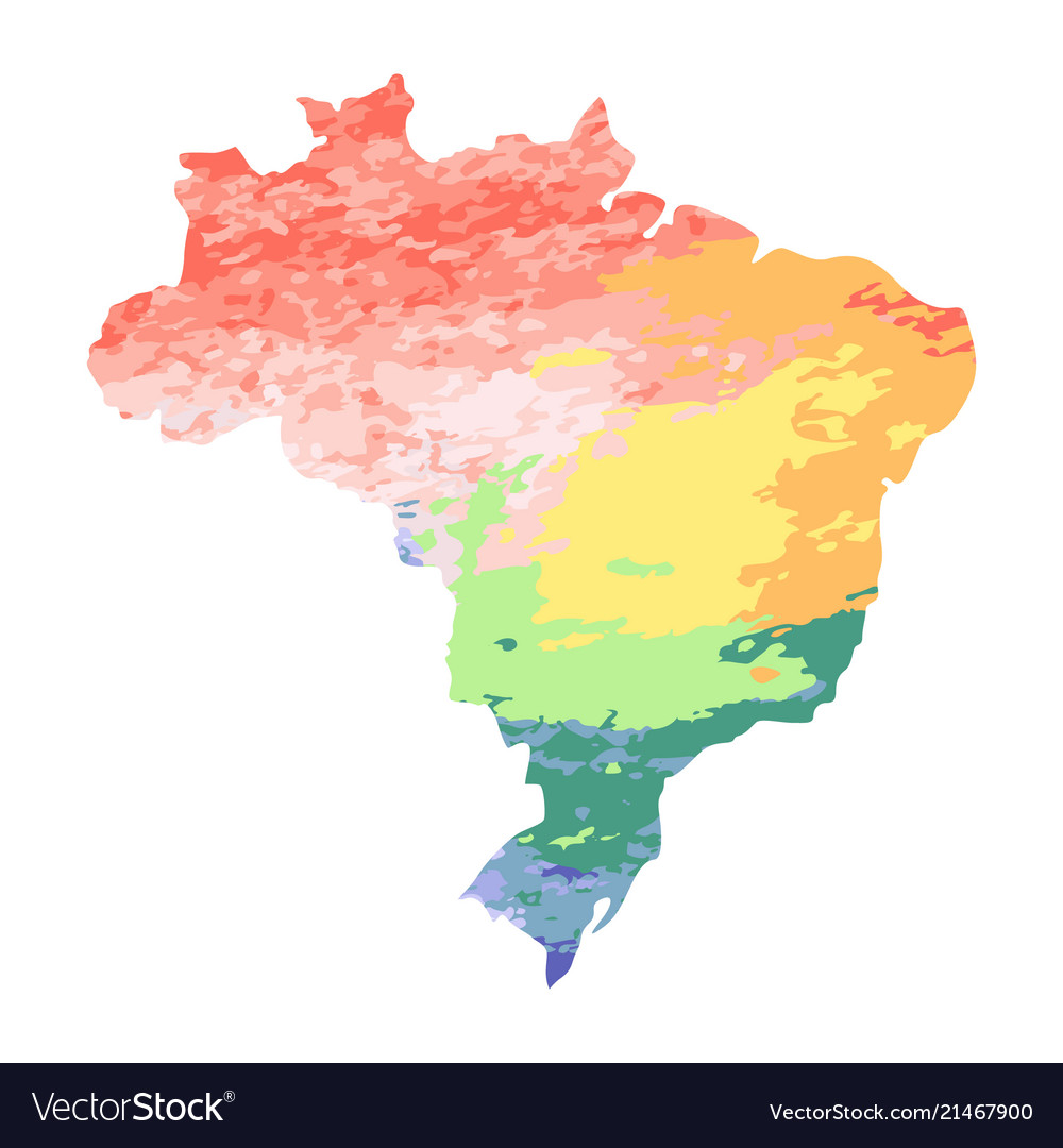 Map Of Brazil With Red Orange Yellow Blue Vector Image
