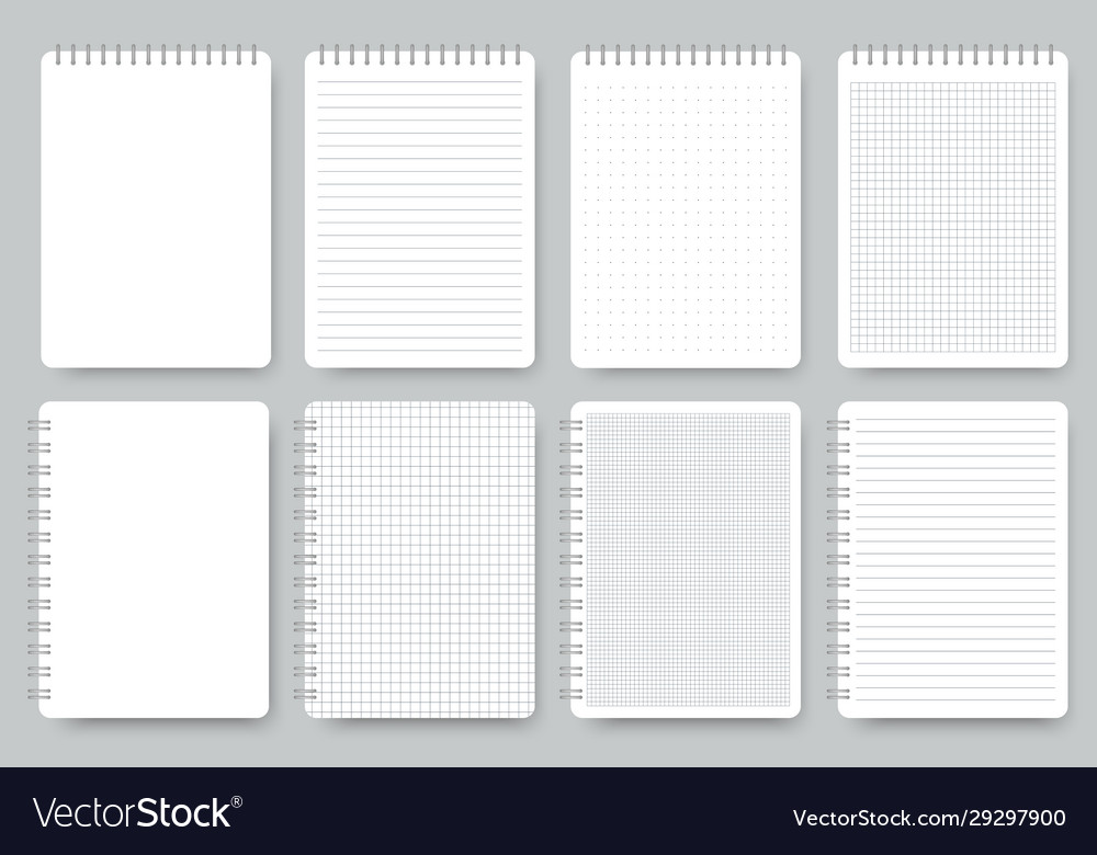 Notebook page set notepad lined and dots paper
