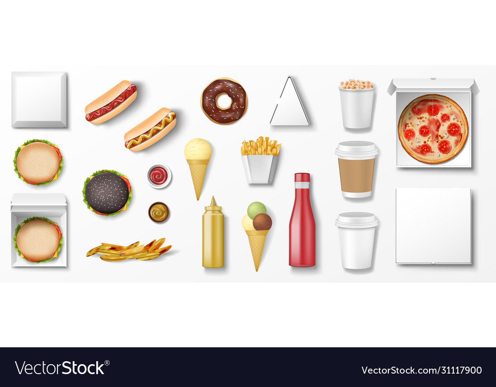 Realistic fast food mockup set top view