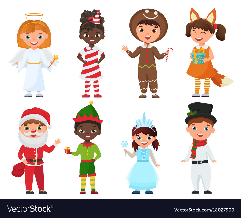 Set of kids in christmas costumes