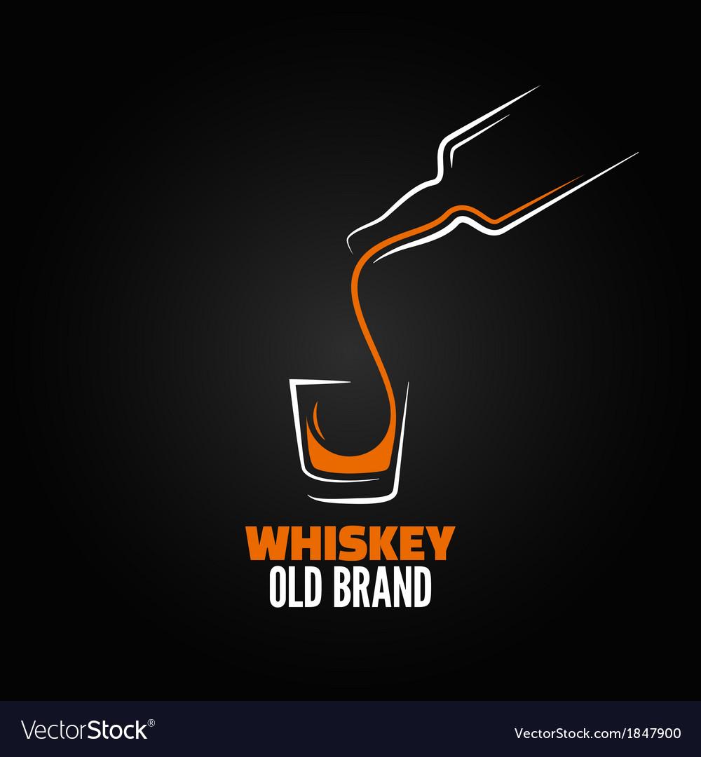 Whiskey glass bottle shot splash menu background vector image