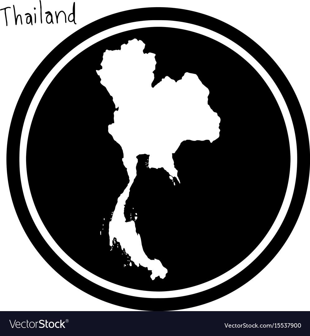 White map of thailand on black