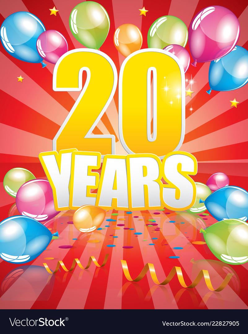 20 Years Birthday Card Vector Image