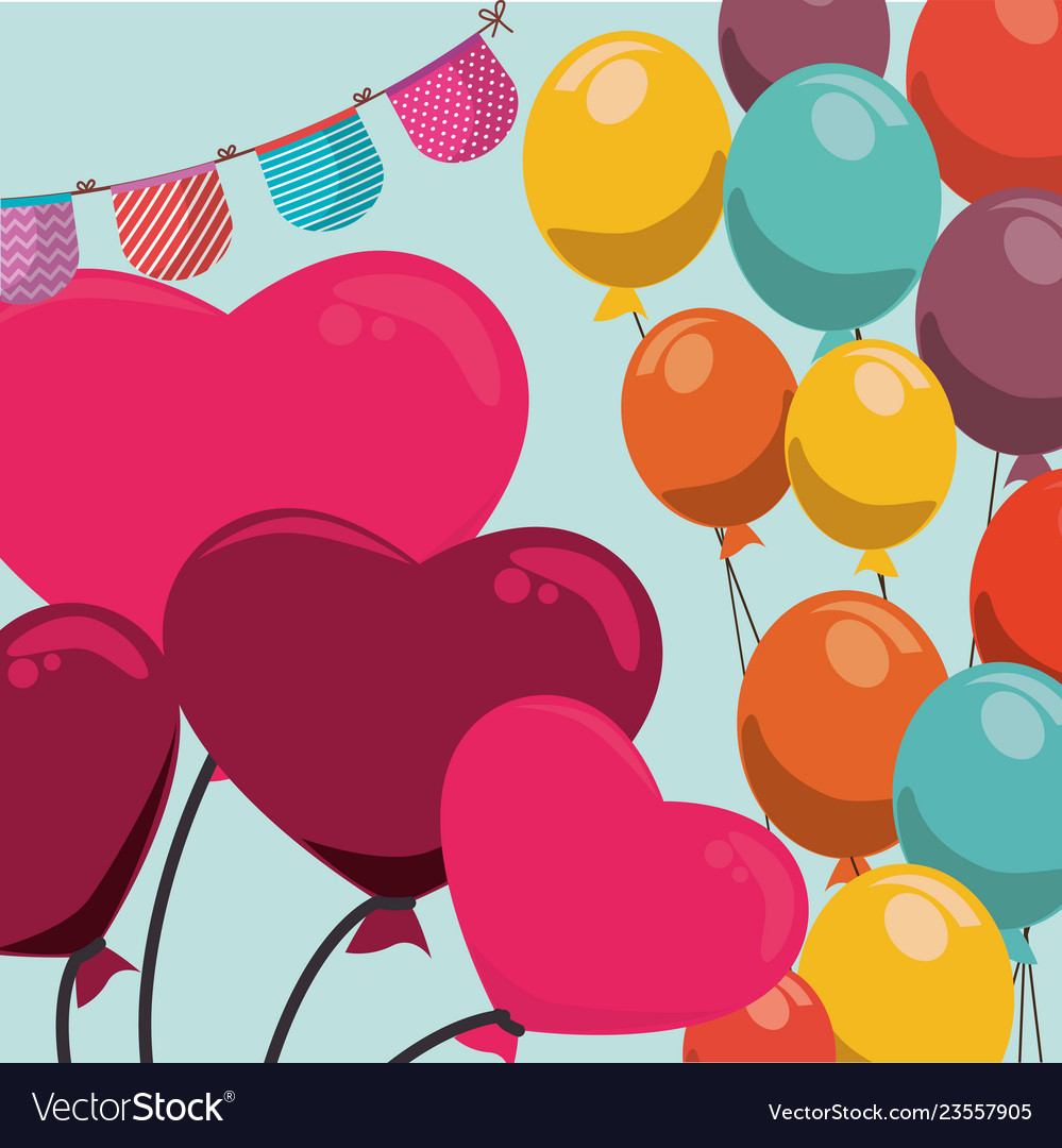 Birthday Celebration With Balloons Helium Vector Image
