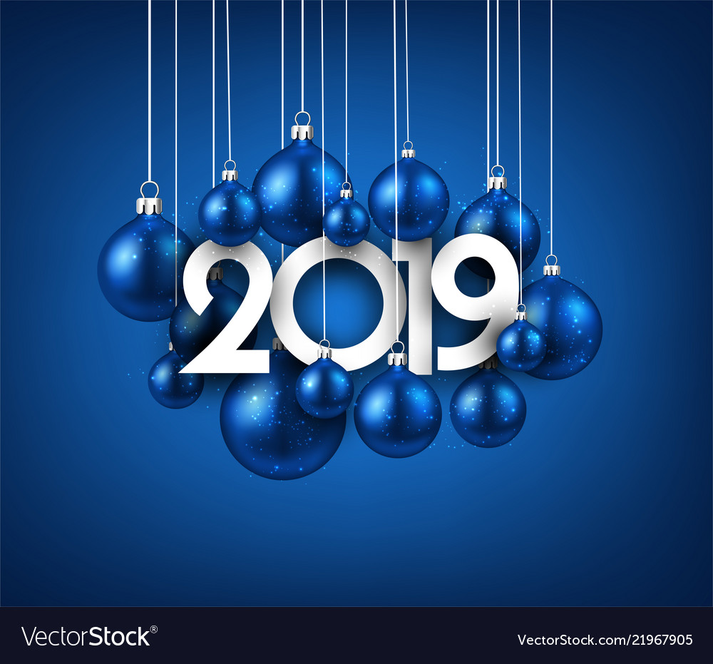 blue festive 2019 new year card with christmas vector image