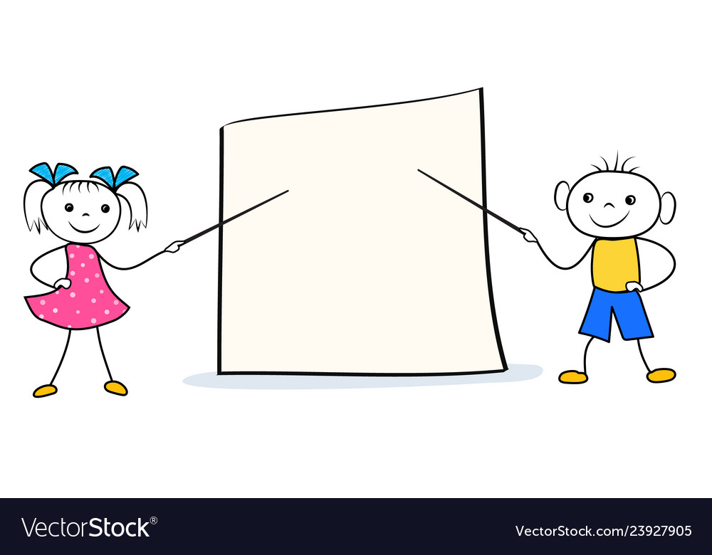 Cartoon girl and boy with pointers at blank