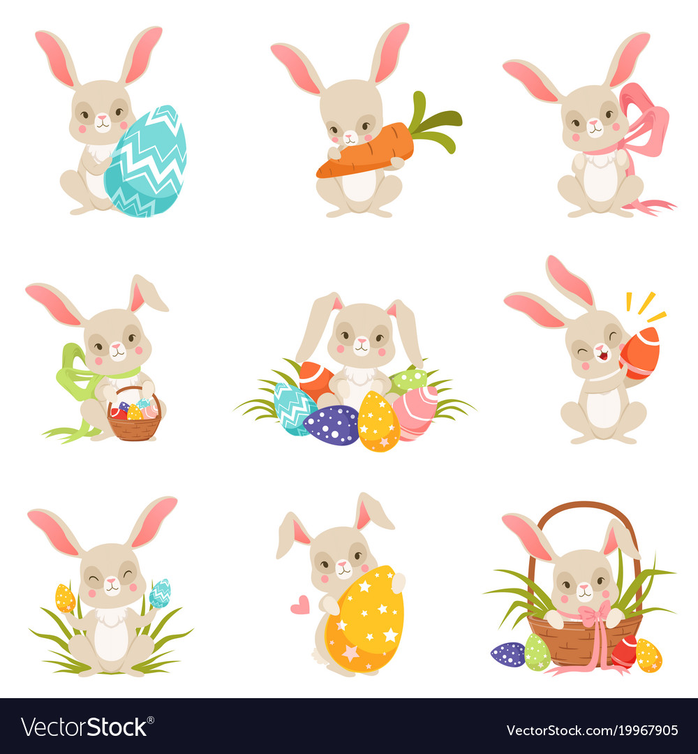 Cute cartoon bunnies holding colored eggs set
