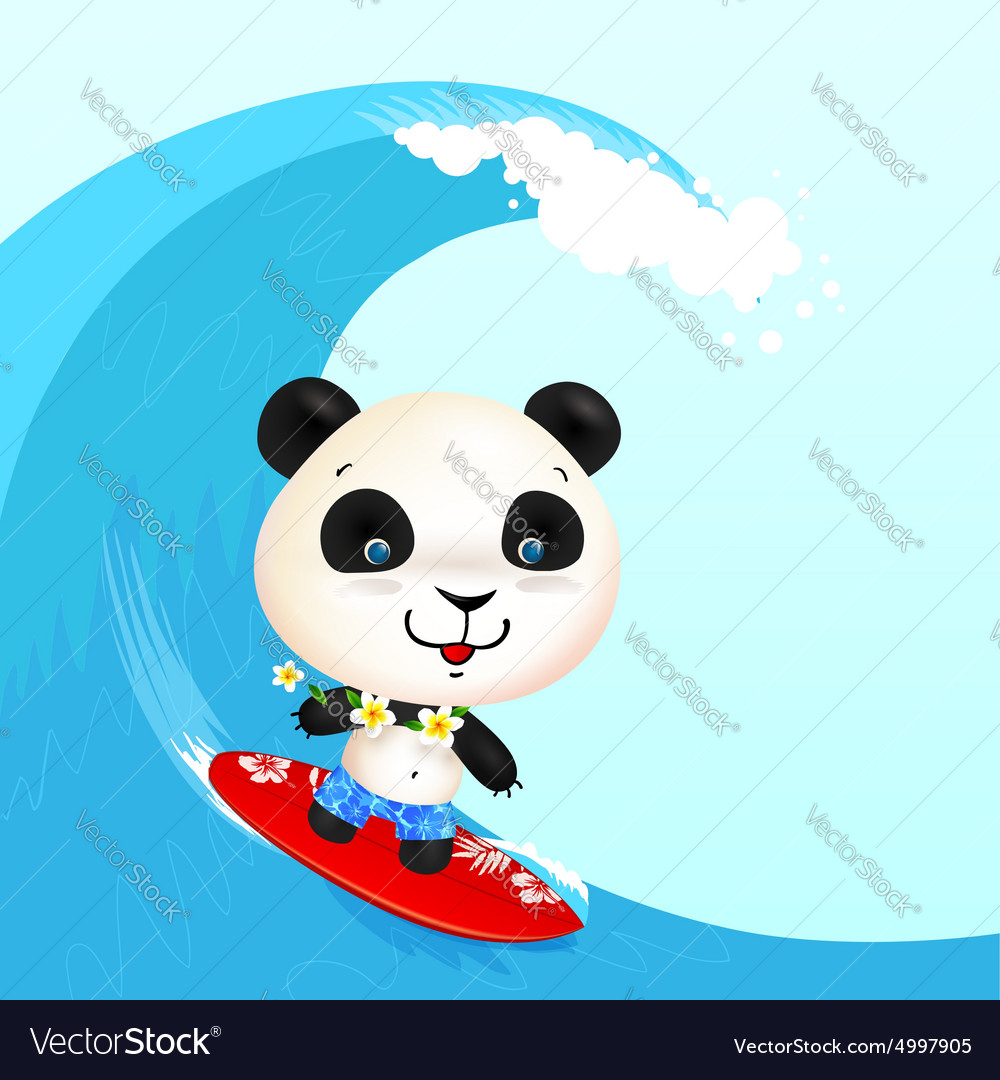 Little cute surfer panda surfing in blowing wave vector image