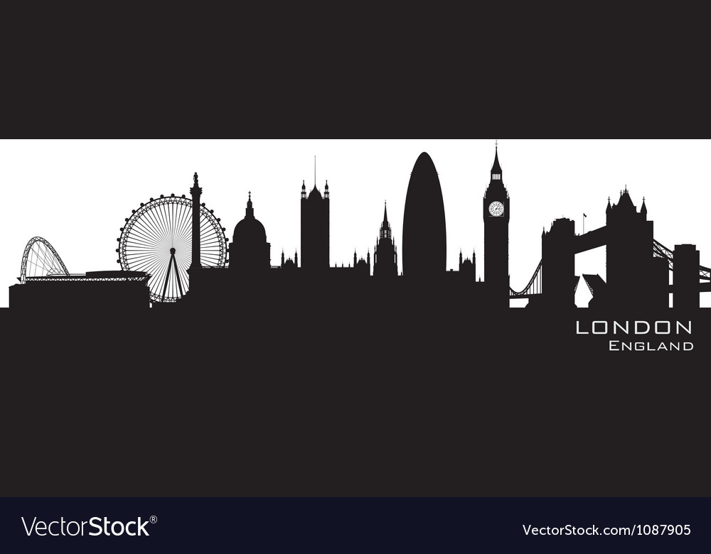 London England skyline Detailed silhouette vector image