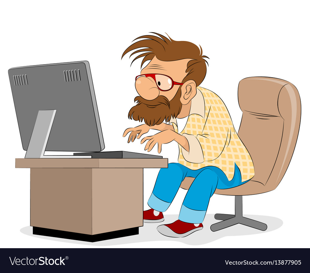 Men working on desktop vector image