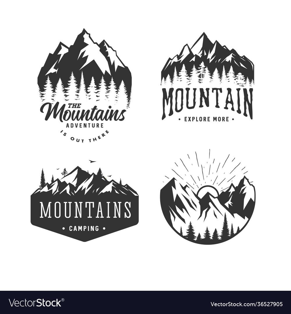 Mountains logos set