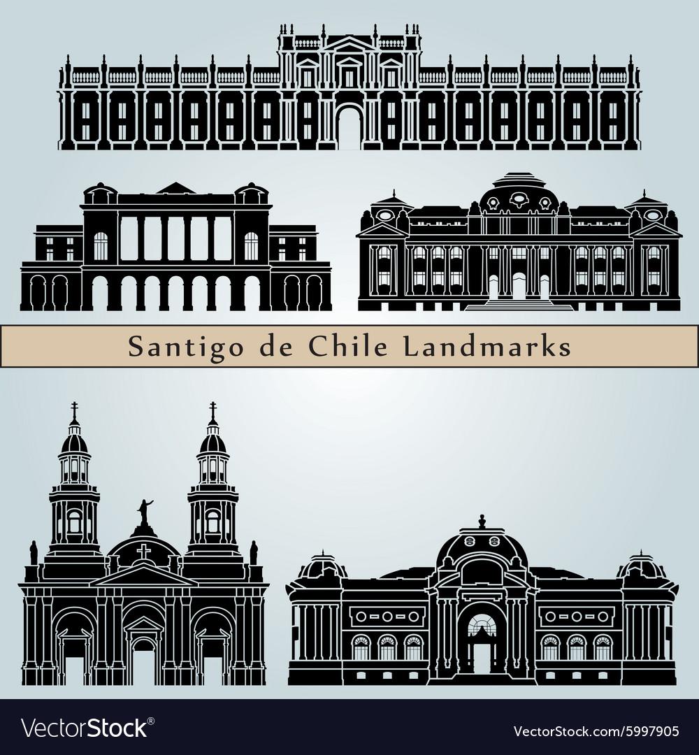 Santiago de Chile landmarks and monuments vector image