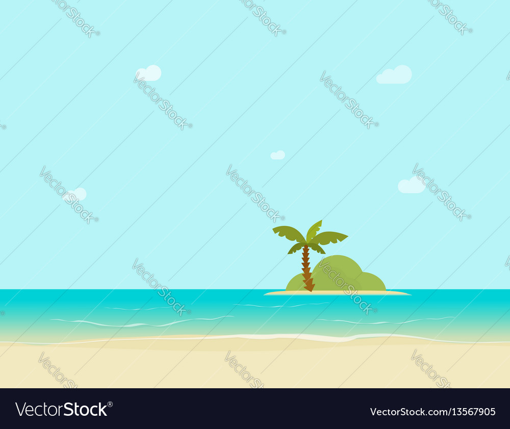 Sea island horizon view from sand beach vector image