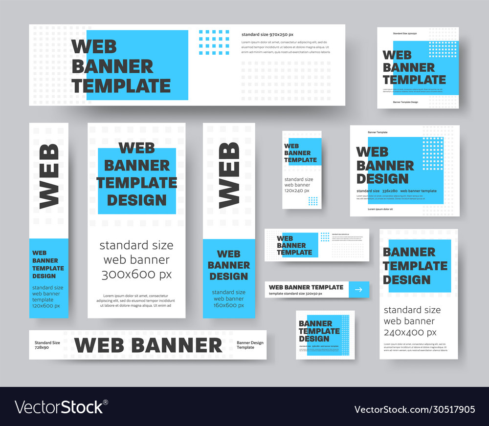 Set geometric web banners with blue rectangle