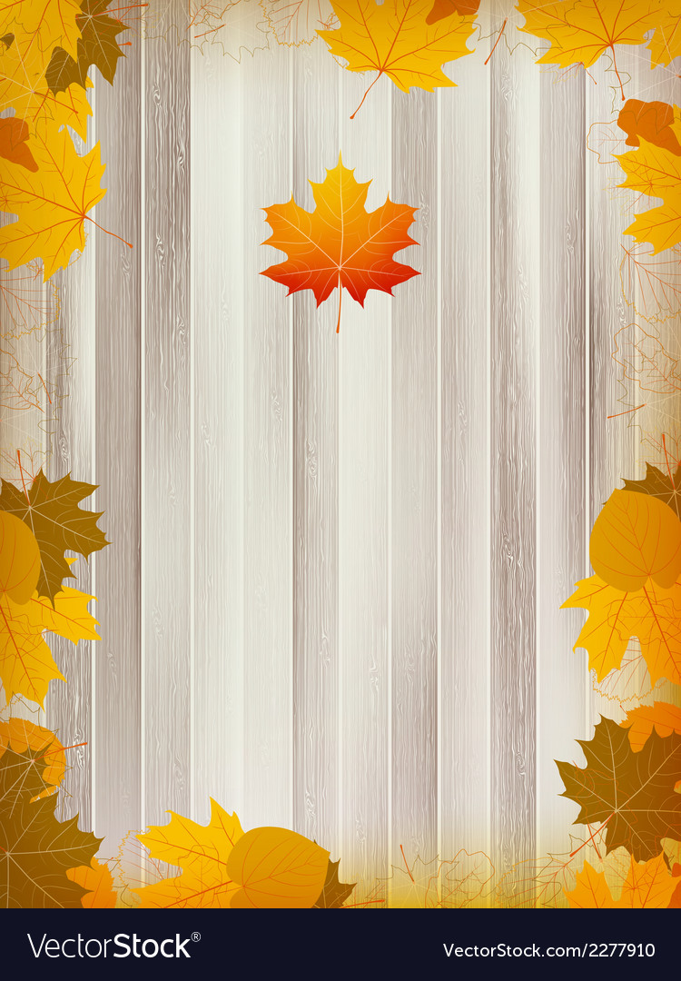 Autumn leaves on wooden background plus EPS10