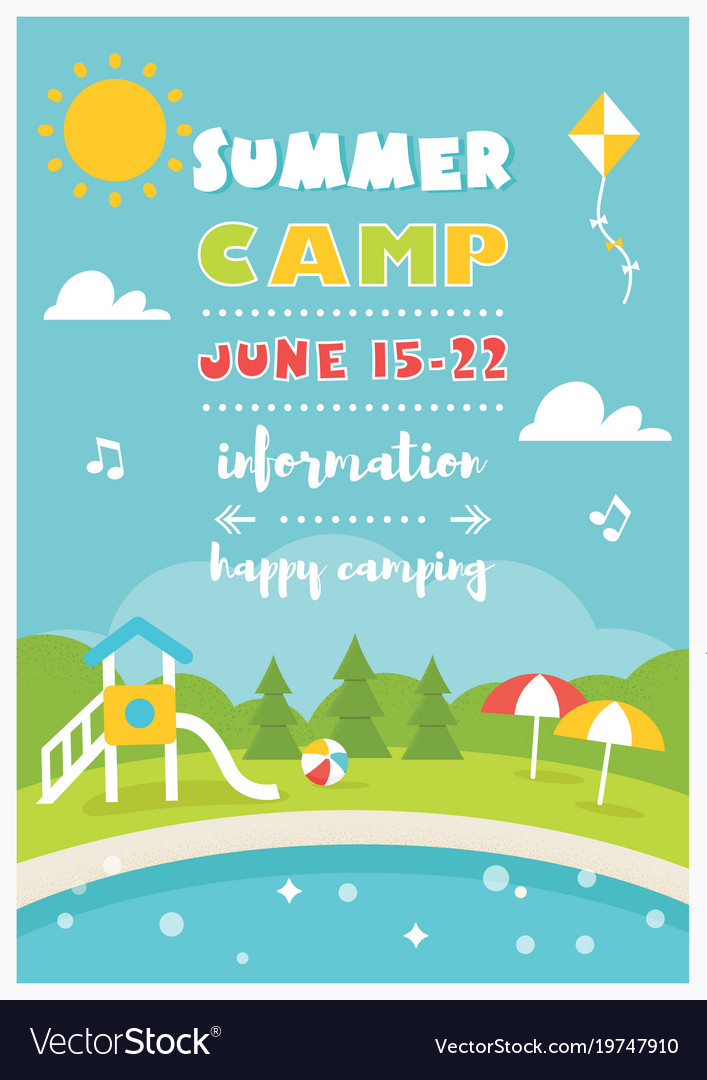 Beach camp or club for kids summer poster vector image