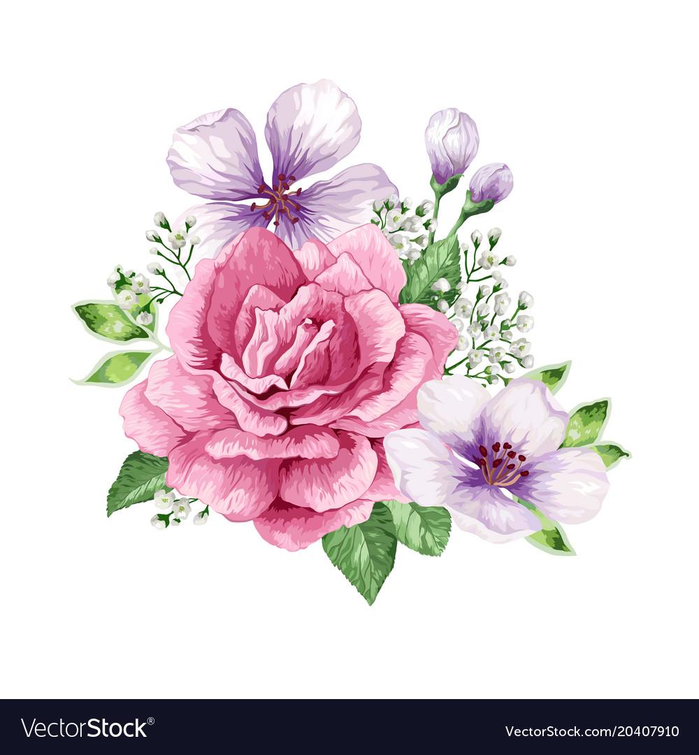 Bouquet of flowers rose apple tree flower vector image izmirmasajfo
