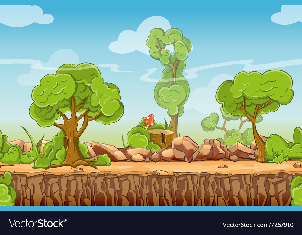 Country seamless landscape in cartoon style