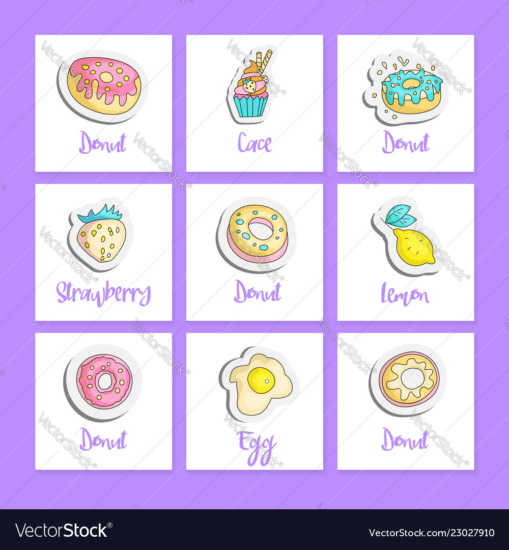 Cute cartoon food square cards with english text