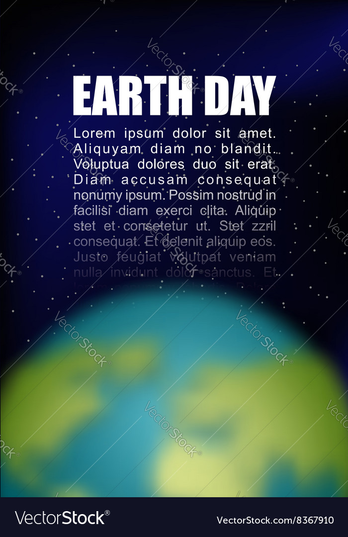 Earth Day Planet earth and black space Space for