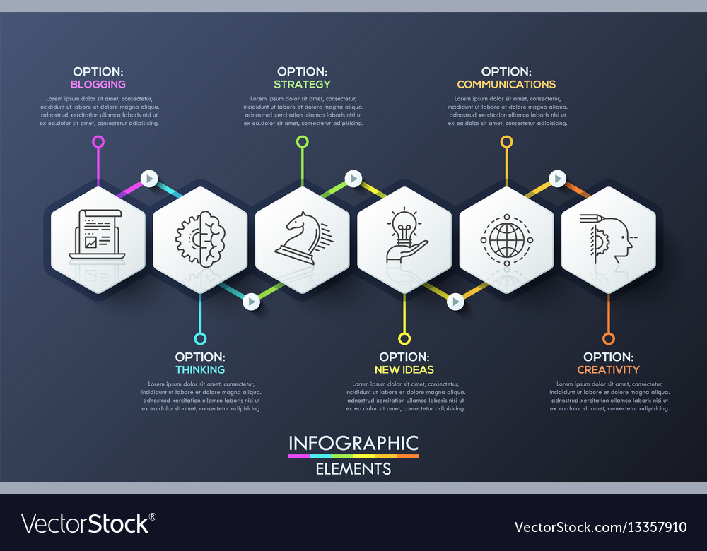 Infographic design template with 6 hexagons vector image