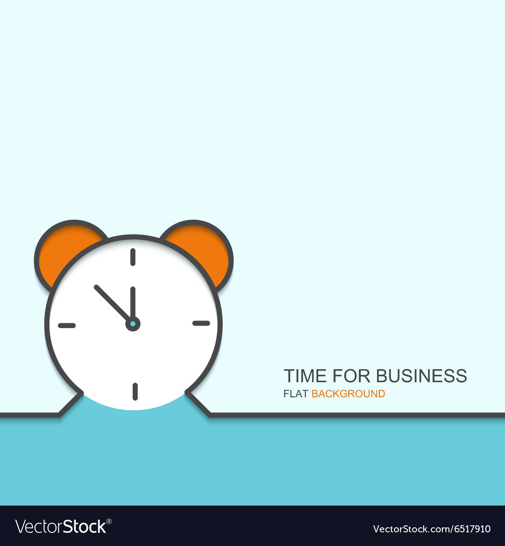 Outline flat design of time for business