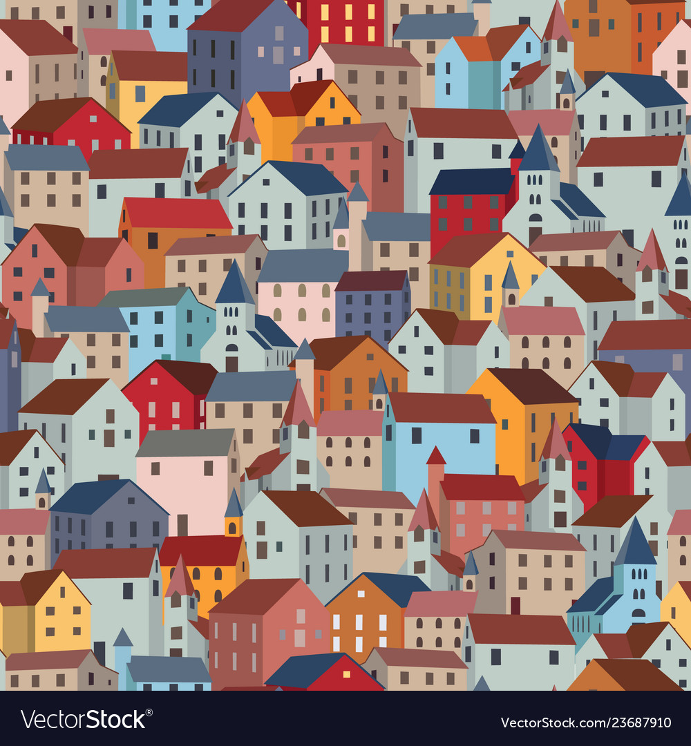 Seamless pattern with colorful houses city or