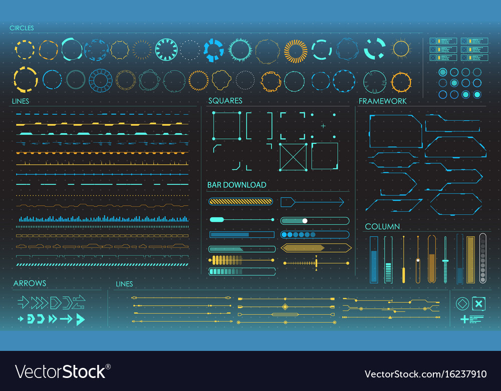 Set of infographic elements head-up display vector image