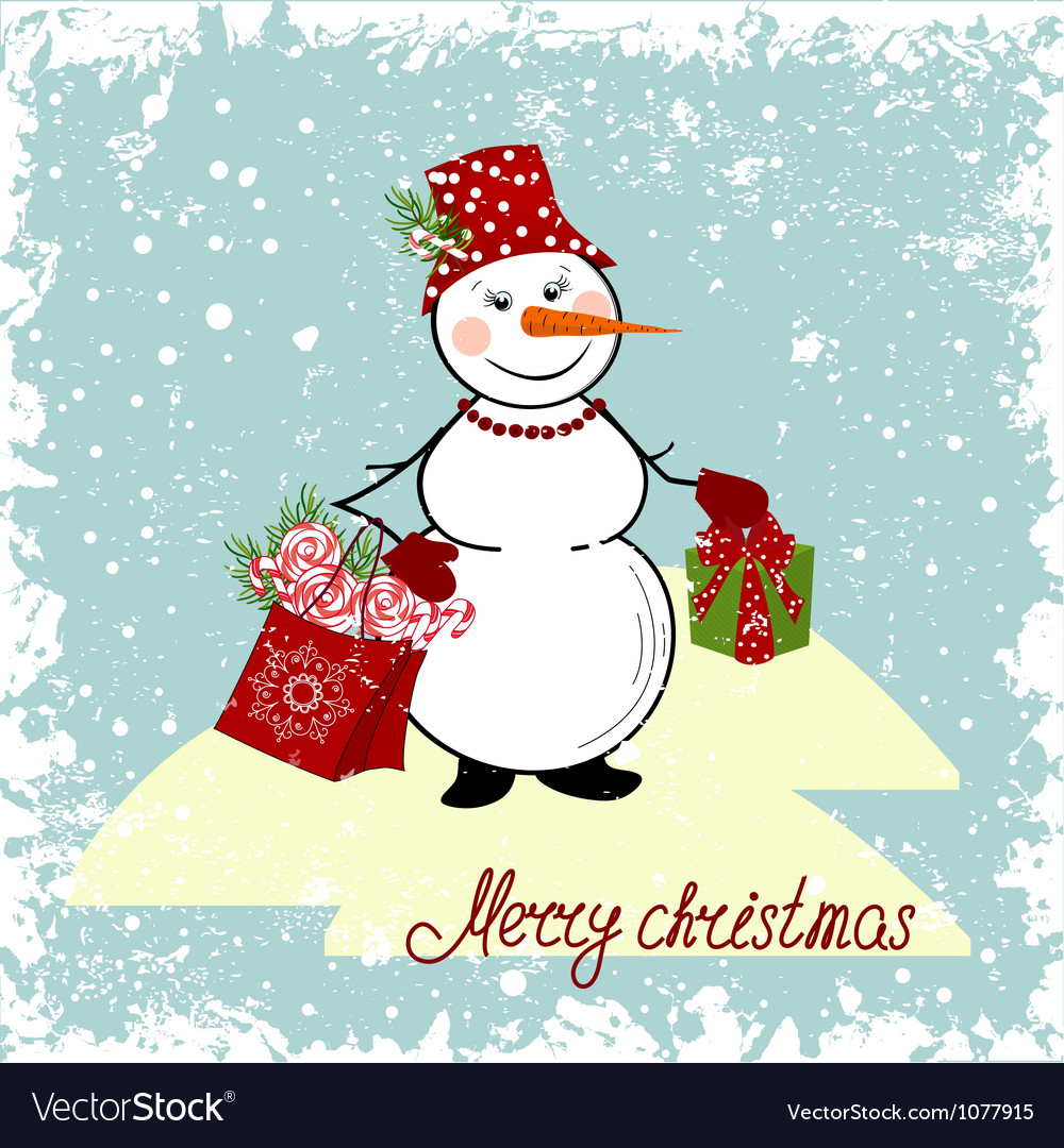 Christmas card with a snowman and gifts