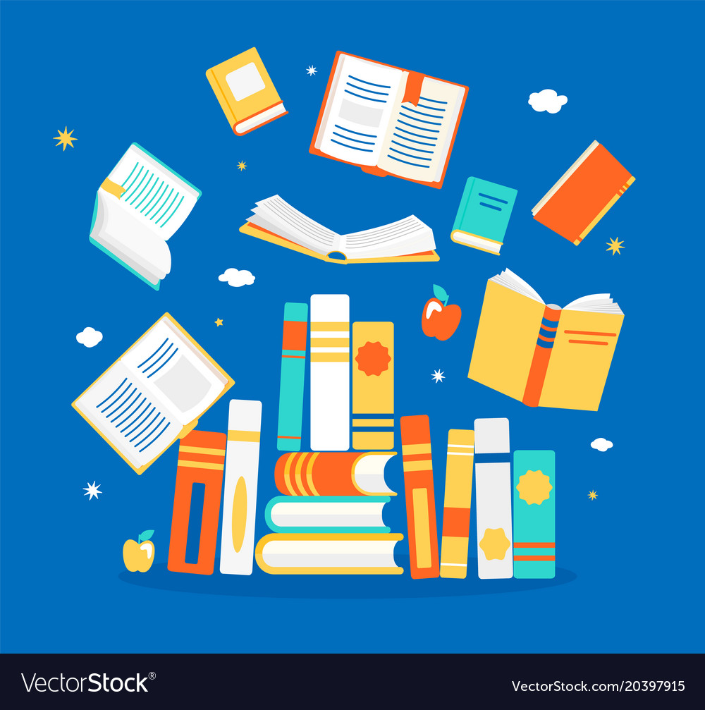 Close and open books in different positions vector image