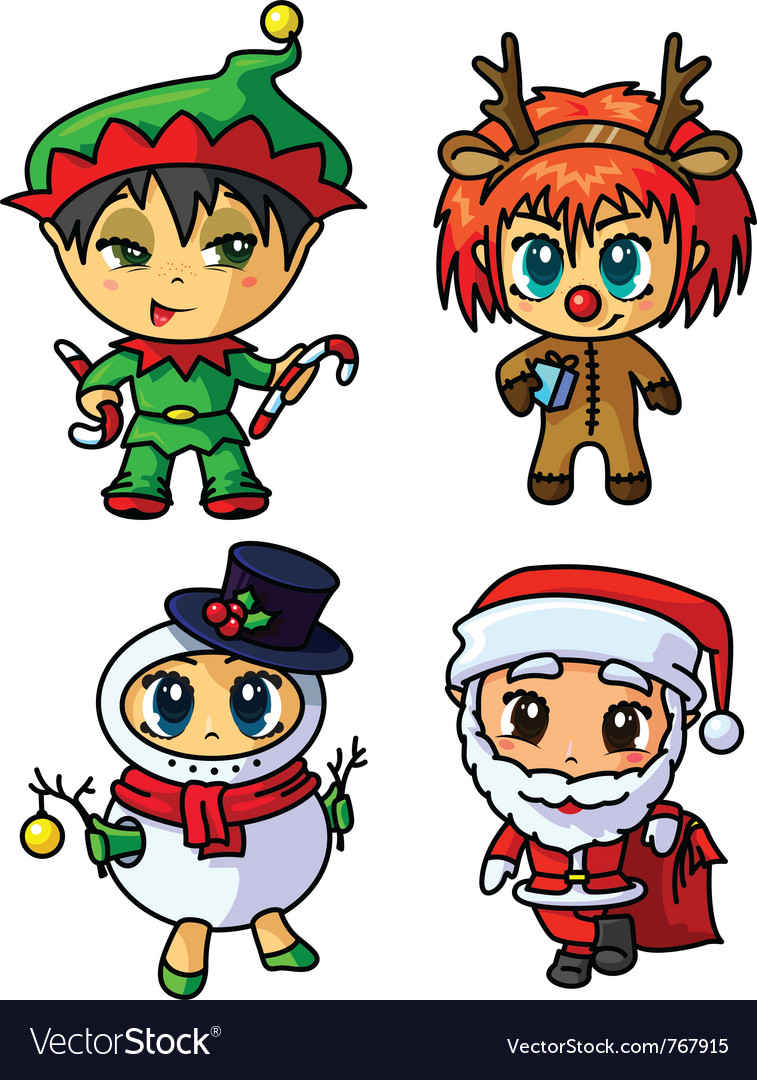 Cute christmas chibi caracters set