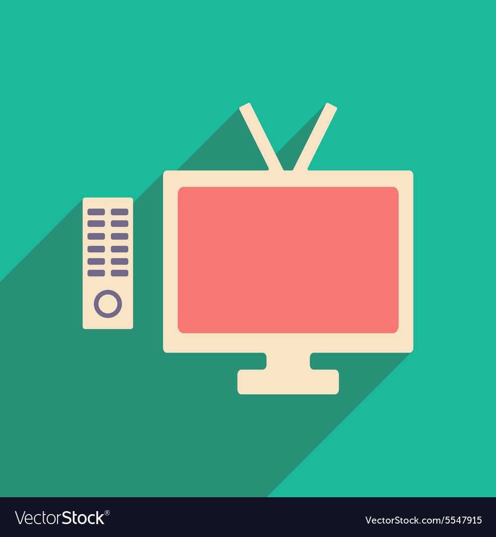 Flat with shadow icon and mobile applacation tv Vector Image