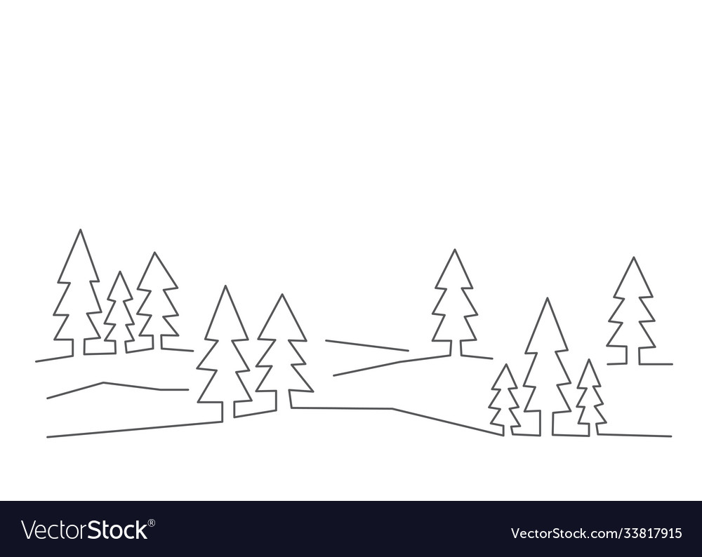 Forest in line style on white