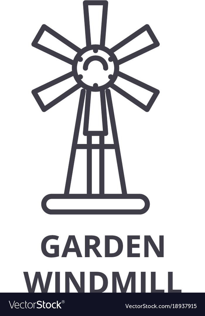 Garden windmill line icon outline sign linear