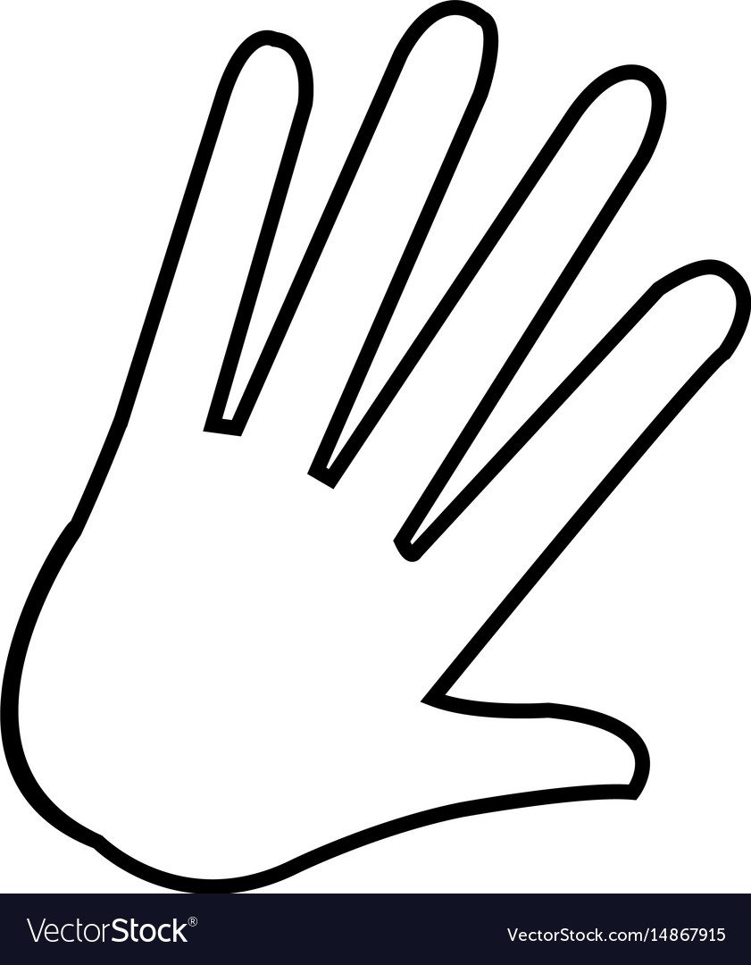 Hand Palm Human Symbol Outline Royalty Free Vector Image