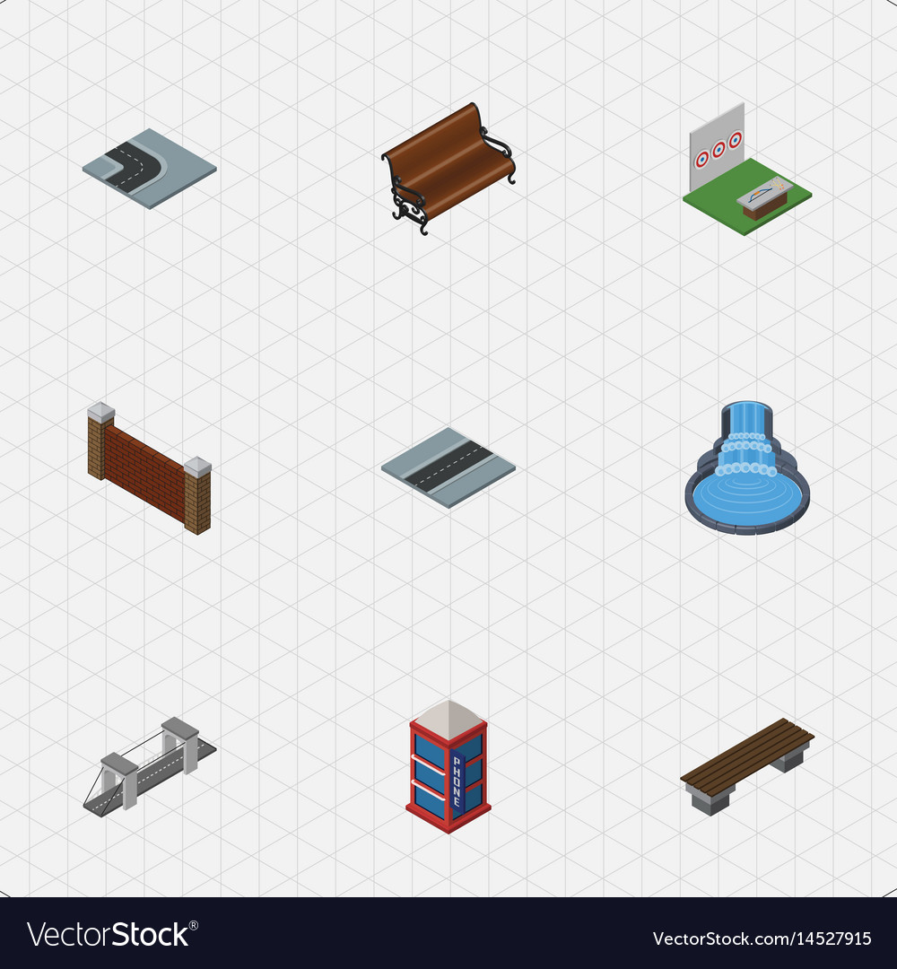 Isometric architecture set of barrier turning vector image