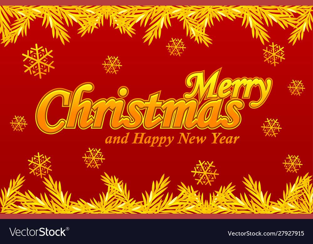 Merry christmas greeting card golden logo snow