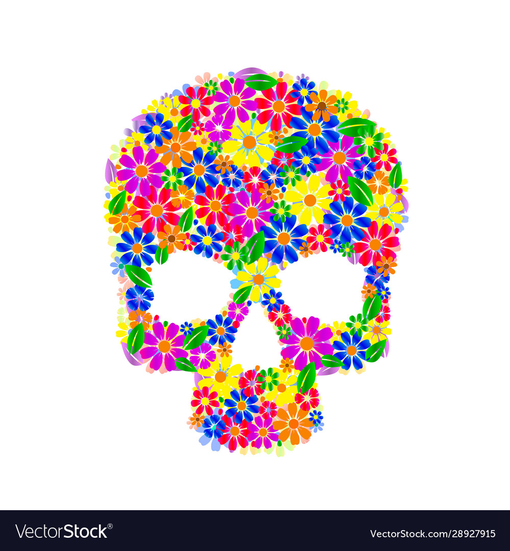 Painting skull flowers isolated on black color