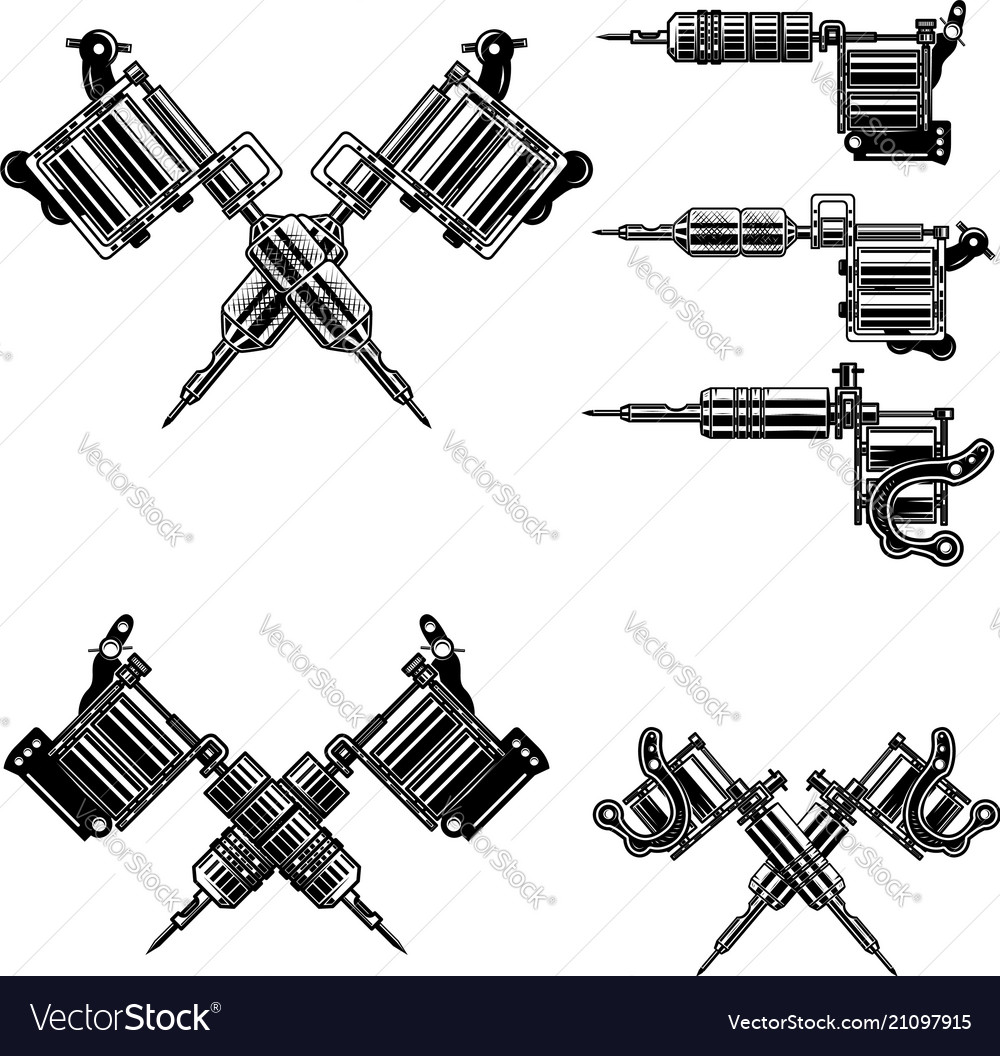 Set of tattoo machine design elements for tattoo