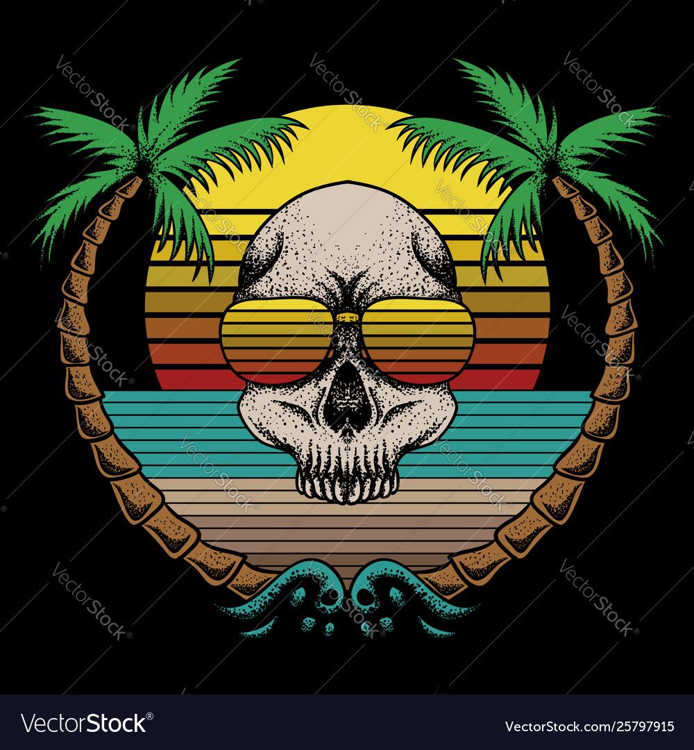 Skull beach retro