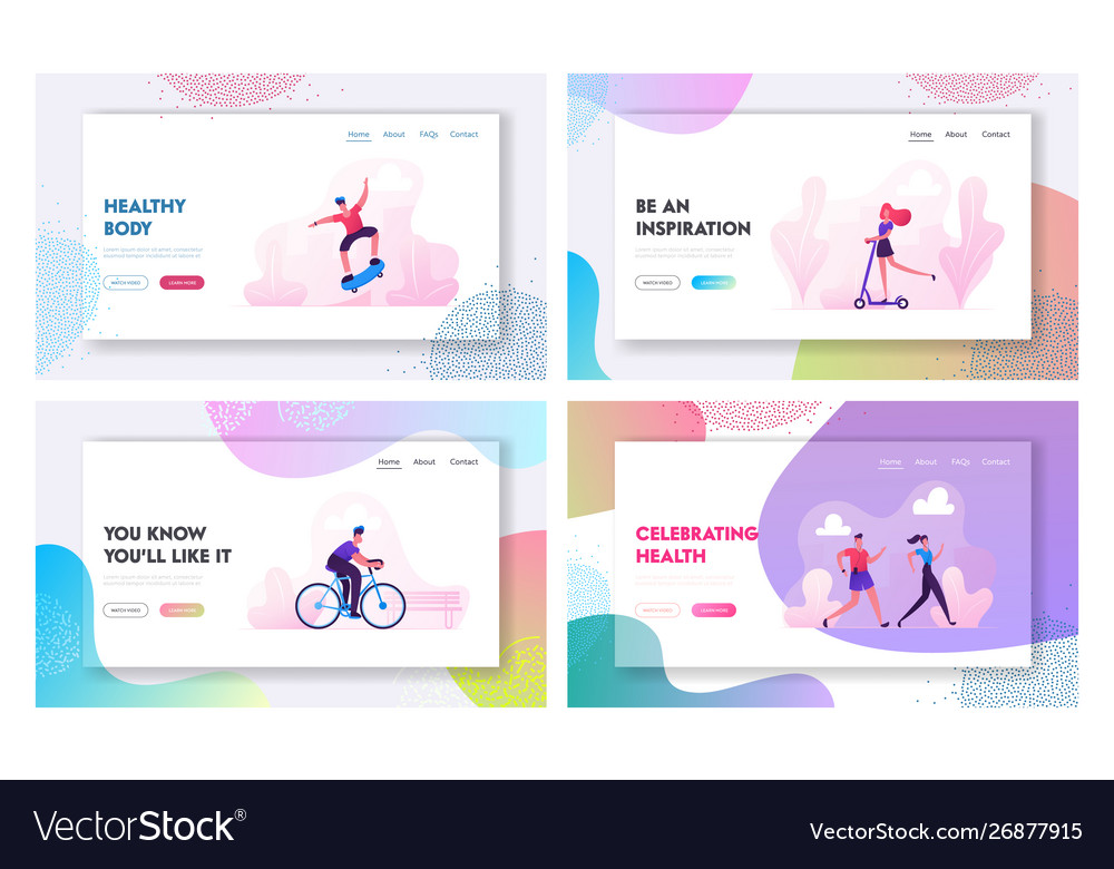 Sports activity website landing page set man