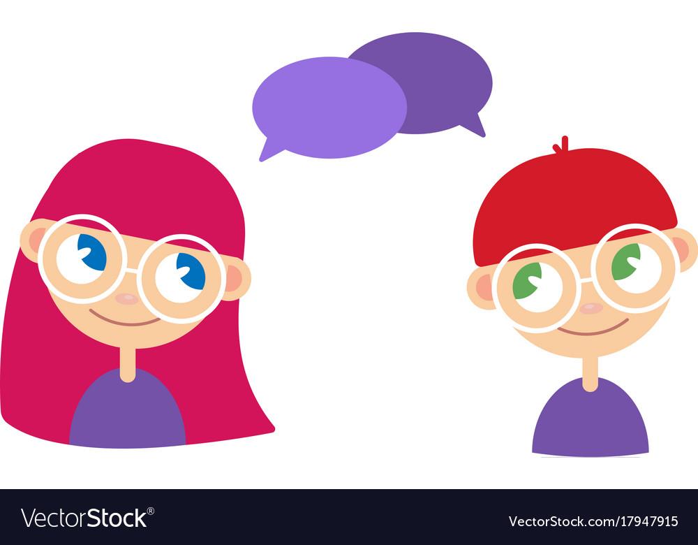 Two Cartoon Style Kids Comics Speak Bubbles Vector Image