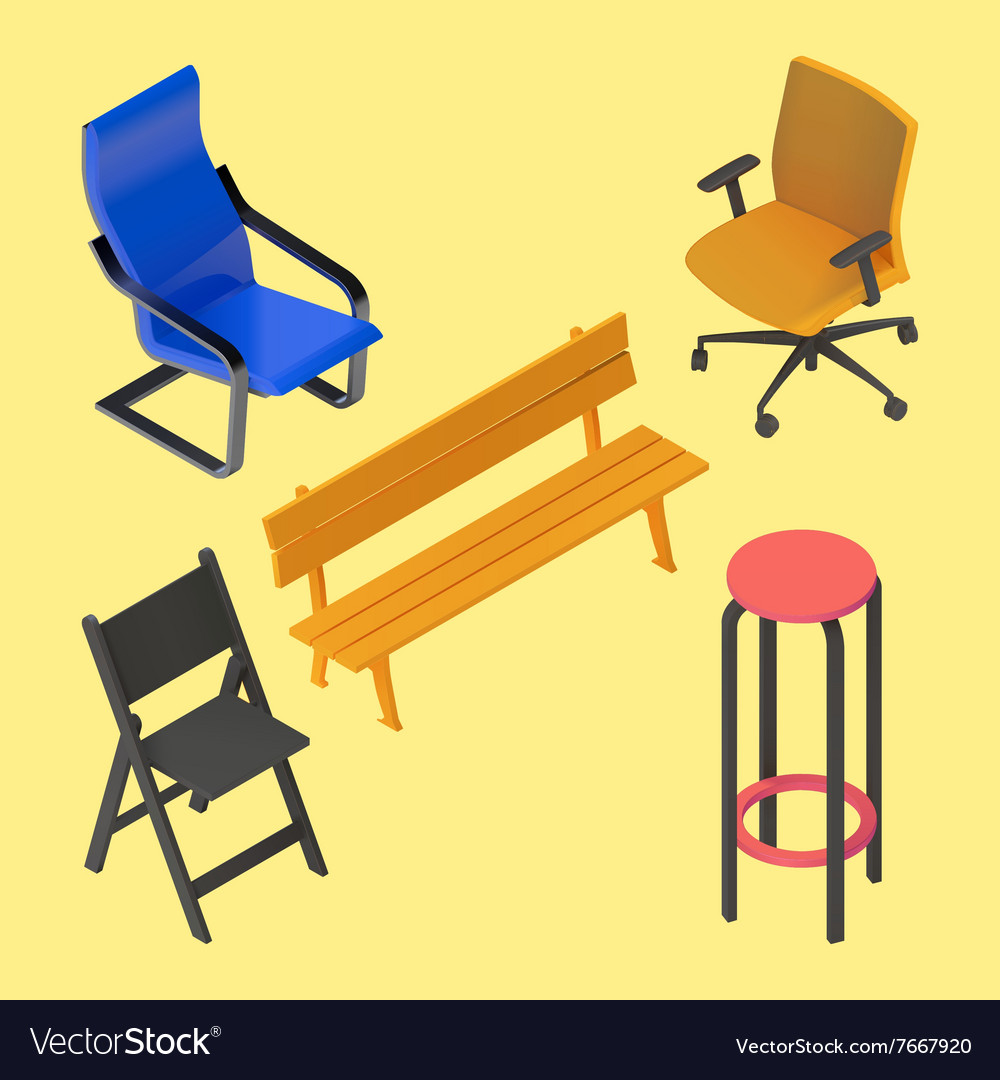 Chair Armchair Stool Bench Furniture Royalty Free Vector