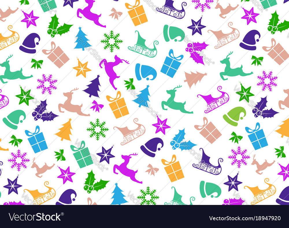 Christmas icons pattern vector image