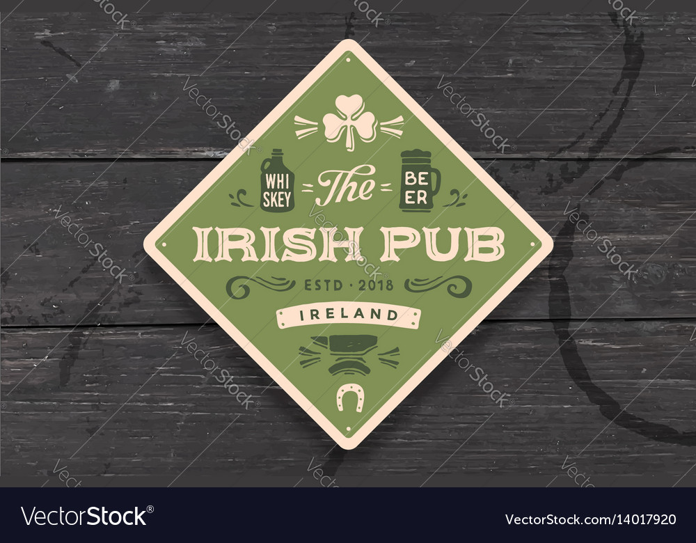 Coaster for irish pub vintage drawing for bar vector image