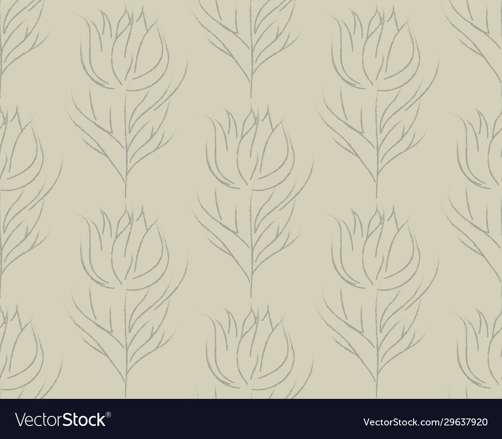 Color line drawing floral seamless pattern