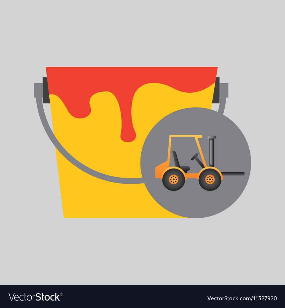Forklift truck construction and paint icon graphic